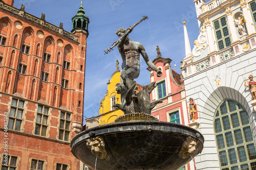 Neptune fountain of the old town in Gdansk, Poland