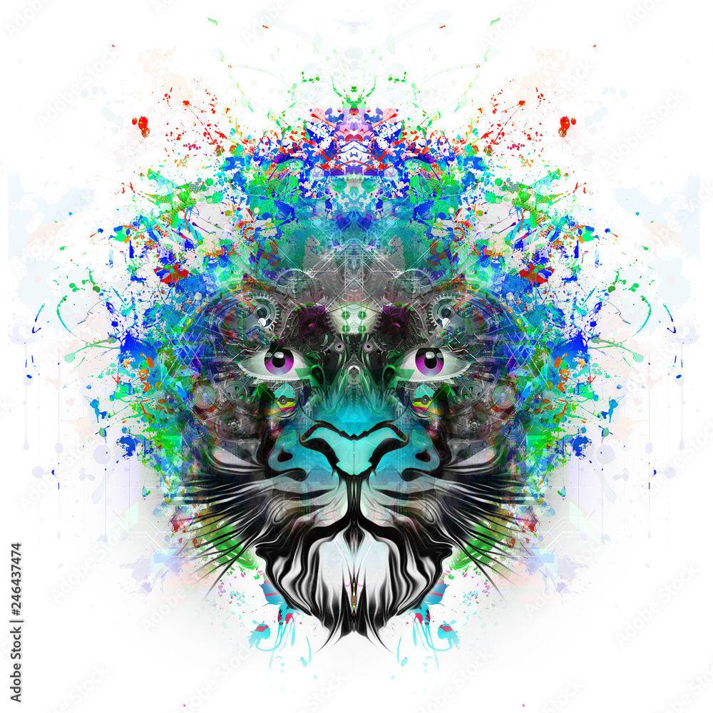 Цветной художественный лев на белом фоне