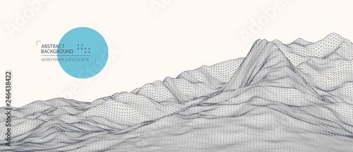 Fotografie, Obraz  Wireframe landscape background. Futuristic vector illustration.