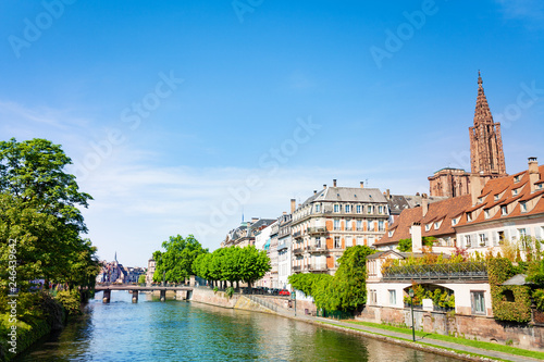 Ill river with Notre dame de Strasbourg cathedral