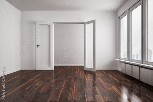 Holzfußboden Kaufen ~ Leere wohnung mit großer fensterfläche und dunklem holzfußboden