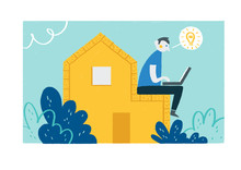 A Man Sitting On A House And Having An Idea