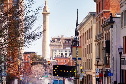 Fotobehang Amerikaanse Plekken Baltimore cityscape with Washington column, USA Maryland