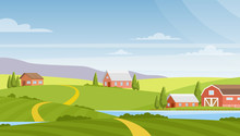 Vector Illustration Of Beautiful Rural Landscape, Farm And Fields, River And Mountains On Background. Countryside Concept, Nature. Summer Rural Landscape And Pastures In Flat Cartoon Style.