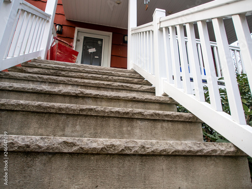 Fotografie, Obraz  looking up at house front stairs