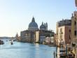 View to Basilica di Santa Maria della Salute and Grand canal, Venice, Italy at summer sunny day