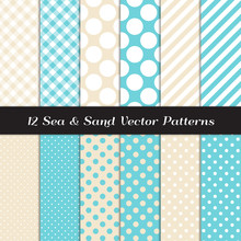 Sea And Sand Color Gingham, Polka Dot And Candy Stripes Patterns. Modern Geometric Aqua Blue And Beige Backgrounds. Repeating Pattern Tile Swatches Included.