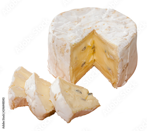 Tasty french cambozola cheese, slices at wooden desk