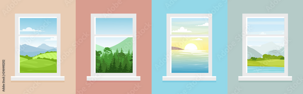 Fototapeta Vector illustration set of windows with different landscapes. Town and sea, forest and mountains views from the windows in flat cartoon style.