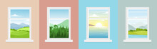 Vector Illustration Set Of Windows With Different Landscapes. Town And Sea, Forest And Mountains Views From The Windows In Flat Cartoon Style.