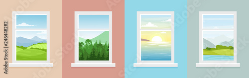 Fototapeta Vector illustration set of windows with different landscapes. Town and sea, forest and mountains views from the windows in flat cartoon style. obraz