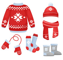 Vector Illustration Of Winter Clothes Collection. Knitted Hat And Scarf, Socks, Hand Gloves, Sweater In Christmas Style Isolated On White Background In Cartoon Flat Style.