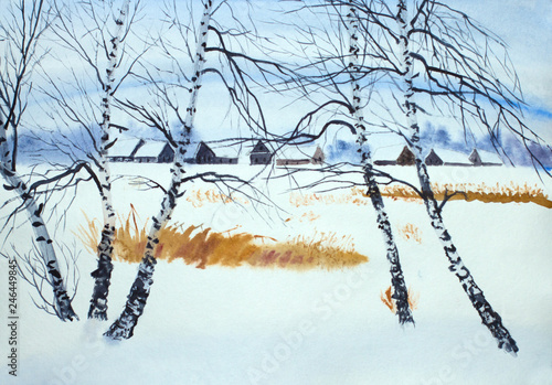 Papiers peints Bleu clair cold winter countryside