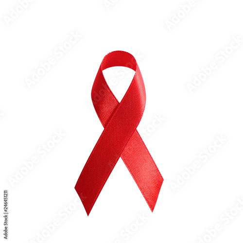 Red ribbon as symbol of aids awareness isolated on white  background Canvas Print