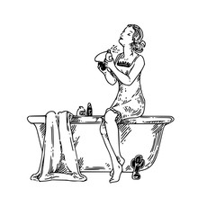 Girl Sitting On The Edge Of The Bath And Use Perfume. Engraving Style. Vector Illustration.