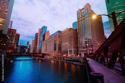 Fotobehang Amerikaanse Plekken Lake Michigan with bridge and skyscrapers, Chicago