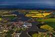 canvas print picture - Wolgast und Insel Usedom, Peenebruecke, Mecklenburg-Vorpommern, Deutschland, Luftaufnahme aus dem Flugzeug