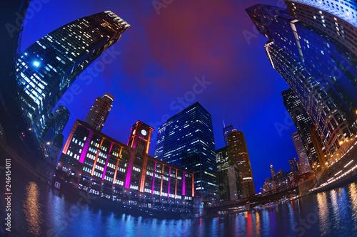 Fotobehang Amerikaanse Plekken Chicago downtown with skyscrapers against dark sky