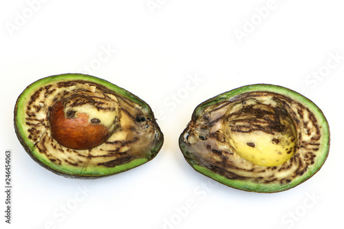 A picture of an ugly rotten avocado fruit. The seed and the inside is visible. Isolated on white background.