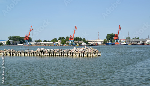 Keuken foto achterwand Poort View of portal cranes of seaport. Kaliningrad region