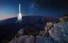 Big Rocket Lands Or Take Off F...
