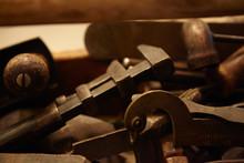 Vintage Handtools In Wooden Box