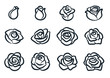 Black and white rose flower vector illustration. Simple rose blossom icon set. Nature, gardening, love, Valentine's day theme design element.