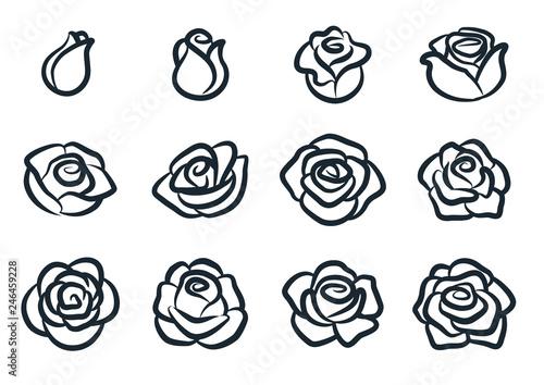Fototapeta Black and white rose flower vector illustration. Simple rose blossom icon set. Nature, gardening, love, Valentine's day theme design element. obraz