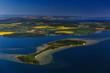 canvas print picture - Die Inseln Vilm und Ruegen, im Hintergrund die Kreidekueste, Mecklenburg-Vorpommern, Deutschland, Luftaufnahme