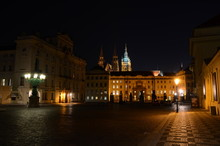 The Presidential Palace And The Hradcany In Prague By Night