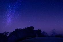 Night Photography Of Doi Hua Singh Under The Stars, Doi Samur Dao, Sri Nan National Park, Nan Province, Northern Of Thailand.