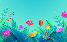 Summer Border With Paper Cut Fantasy Flowers, Leaves, Stem Isolated On Blue Sky Backdrop. Minimal 3d Style Floral Spring Background. Bright Nature Origami. Vector Illustration