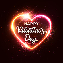 Happy Valentine's Day Greeting Card On Dark Red Heart Background. Bright Neon Sign Design. Retro 80s Style Neon Lights Heart Sign With Halogen Or Led Lamp Frame Element. Glowing Vector Illustration.