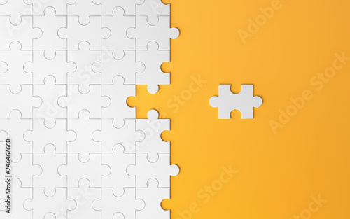 Fotomural Jigsaw puzzle, pattern texture with space in strategy and solution of team business success partnership concept on orange background