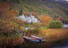 Scenic View Of The Kylemore Abbey In Autumn, Ireland