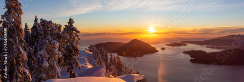 Foto auf Gartenposter Rosa dunkel Beautiful Panoramic Canadian Landscape view during a colorful winter sunset. Taken from top of Mnt Harvey, North of Vancouver, BC, Canada.