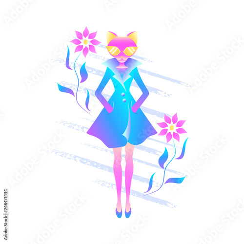 Anthropomorphic spring cat Wallpaper Mural