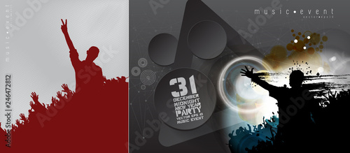 Party background with dancing people - vector illustration
