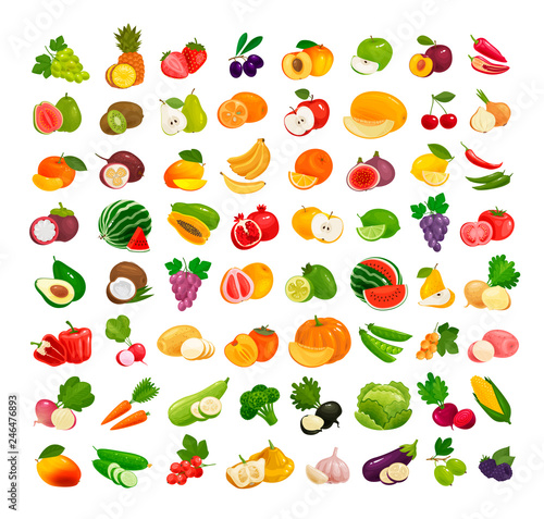 Poster Cuisine Set of fruits and vegetables. Fresh food, healthy eating concept. Vector illustration