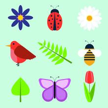Cute Vector Spring Icon Set