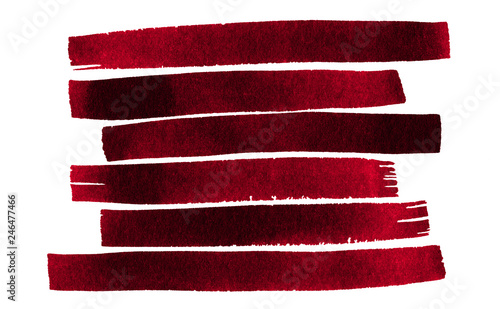 Tableau sur Toile Watercolor line painting background image Abstract dark red,maroon line watercolor hand paint isolated on white background