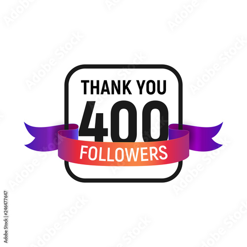 Fotografia  400 followers number with color bright ribbon isolated vector icon