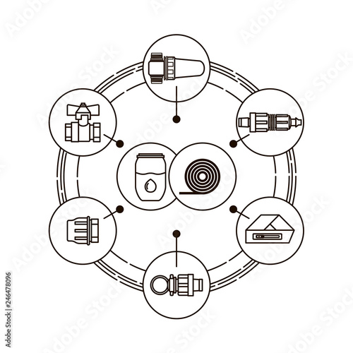 Drip Irrigation Line Icons Of Equipment For Irrigation System In
