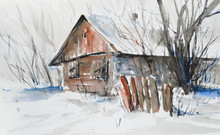 Old Abandoned Wooden House In Winter. Picture Created With Watercolors.