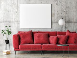 Mock up poster on gray wall, red modern furniture, minimal design, 3d render, 3d illustration