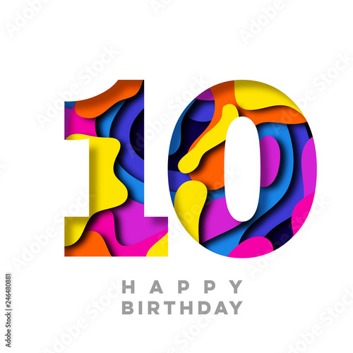 Fotografía Number 10 Happy Birthday colorful paper cut out design