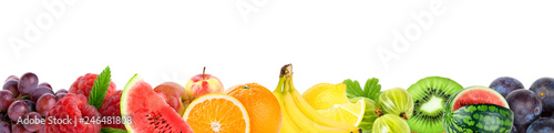 Collage of mixed fruits. Fresh color fruits - 246481808