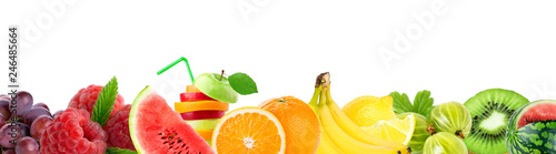 Mixed fruits. Collage of fresh color fruits - 246485664