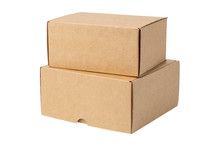 Two Cardboard Boxes, Isolated On White Background.