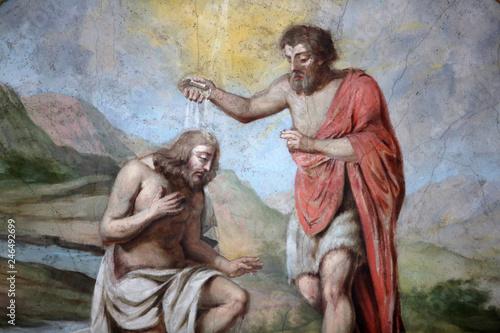 Obraz na plátne Baptême de Jésus par Saint-Jean Baptiste